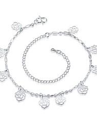 Bracelet de cheville/Bracelet Forme de Fleur Naturel Amitié Mode Vintage Bohême Style Punk Hip-Hop Turc Cuivre Plaqué argent Plaqué or