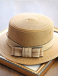 Women's Fashion Sweet Flat Straw Hat Sun Hat Beach Cap Folding Bowknot Casual Holiday Outdoors Summer