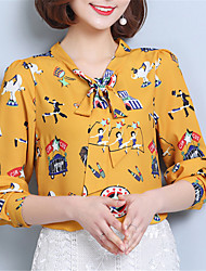 Fashion V Collar Long Sleeves Wild Printing Upper Outer Garment Daily Leisure Home Dating Party Shirt