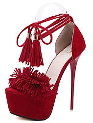 Damen-Sandalen-Kleid-Vlies-Stöckelabsatz-Knöchelriemen-Schwarz Rot