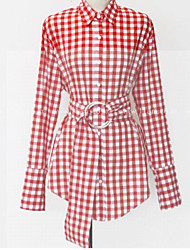 MOCO 17 Spring elegant and unique design sense waist red plaid shirt shirt