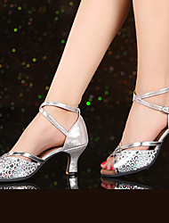 Non Customizable Women's Dance Shoes Patent Leather Sparkling Glitter Synthetic Patent Leather Sparkling Glitter Synthetic Latin Heels