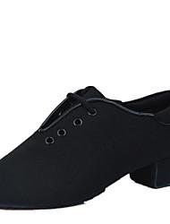 Non Customizable Men's Dance Shoes Fabric Fabric Latin / Ballroom Heels Low Heel Professional / Indoor / Performance / Practice