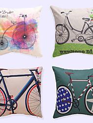 1 pcs Creative Bicycle Brocade Linen Pillow CaseNovelty Modern/Contemporary Casual