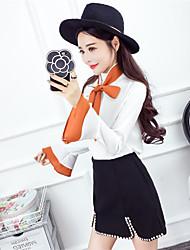 подписать ранней весной новой моды кружево лук рог рукав рубашки + бисероплетение шерстяной костюм юбка