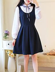 Spring new Korean ladies fake two tie bow skirt a word was thin waist temperament chiffon dress