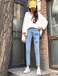 2016 новый реальный выстрел ударил цвет талия была тонкой заусенцев сократить прямые джинсы корейский дикий ковбой колготки