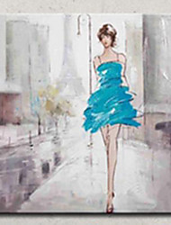 High Skill Artist Hand Painted Oil Painting Art Sexy Lady with Blue Dress Unformed Decoartion Canvas Paintings for Coffee Store With Frame