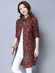 Sign 2017 new national wind cotton long-sleeved floral shirt and long sections loose women
