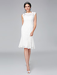 LAN TING BRIDE Sheath / Column Wedding Dress - Chic & Modern Little White Dress Knee-length Jewel Lace with Lace