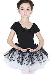 Ballet Dresses Children's Training Cotton Lace Polka Dots 1 Piece Short Sleeve Natural Leotard