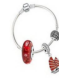 Femme Filles´ Chaînes & Bracelets Argent sterling Cristal Naturel Amitié Mode Simple Style Forme Ronde Rouge Bijoux 1pc