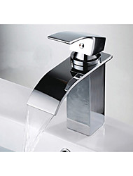 Bathroom Faucet Waterfall Bathroom Faucet Thermostatic Widespread Ceramic Valve Single Handle One Hole for  Chrome Basin Faucet Bathroom Mixer Tap