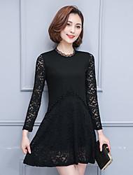 Signe la nouvelle version coréenne de printemps 2017 de la robe de couture en dentelle en perles fines