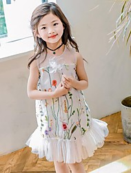 Girl's Embroidered Dress,Cotton Summer Sleeveless