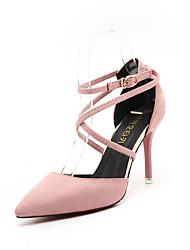 Women's Heels Comfort PU Spring Outdoor Comfort Stiletto Heel Black Gray Green Blushing Pink 4in-4 3/4in