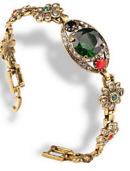 Women's Chain Bracelet Alloy Turquoise Simulated Diamond Natural Circle Green Jewelry 1pc