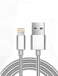 JDB Metal Spring USB Cable For iPhone 7 6 5 iPad Cables Mobile Phone Charger 1M Data Charging
