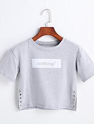 Damen Druck Einfach Lässig/Alltäglich T-shirt,Rundhalsausschnitt Frühling Sommer Kurzarm Baumwolle