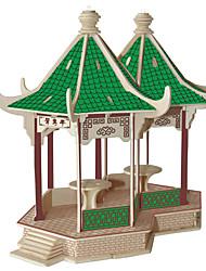 Jigsaw Puzzles DIY KIT Building Blocks 3D Puzzles Educational Mandarin Duck Pavilion Wooden Puzzles Building Blocks DIY ToysSquare Famous