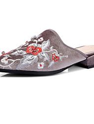 Sandals Spring Summer Fall Club Shoes Silk Office & Career Dress Casual Low Heel Chunky Heel Flower Black Gray