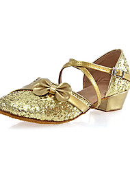 Kids' Dance Shoes Suede Suede Latin Heels Chunky Heel Practice Red Silver Gold