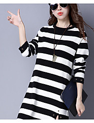 Women's Going out Vintage Tunic Dress,Polka Dot V Neck Maxi Long Sleeve PU Spring Mid Rise Micro-elastic Medium