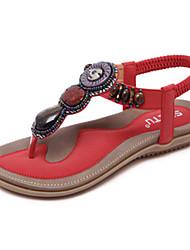 Для женщин-Для прогулок Для офиса Для праздника Повседневный-Полиуретан-На плоской подошве-Удобная обувь Оригинальная обувь-Сандалии