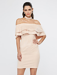 Women's Casual/Daily / Club Sexy / Simple Bodycon DressSolid Boat Neck Backless Falbala Above Knee Short Sleeve Summer Mid Rise