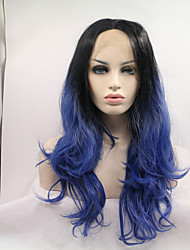 sylvia peruca dianteira do laço sintético preto para resistentes perucas azul Onda de calor naturais ombre sintéticas