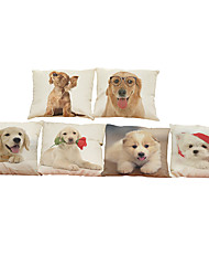 Set of 6   dog pattern   Linen Pillow Case Bedroom Euro Pillow Covers 18x18 inches Cushion cover