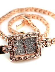 Armband-Uhr Quartz Legierung Band Gold Gold Weiß