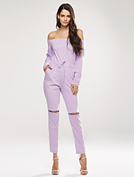 Women's Petite Slim Jumpsuits,Casual/Daily / Sports Sexy Solid Boat Neck Long Sleeve Mid Rise Cotton / Spandex Micro-elastic Spring / Fall