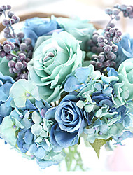 Turquoise Artificial Rose Flower Bouquets Silk Eco-friendly Material Wedding Decorations-1Piece/Set Spring Summer Fall Winter Non-personalized