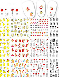 1pcs 12Design Sweet Valentine Gift Love Heart Lovely Cartoon Bikachu Design Nail Art Sticker Nail Water Transfer Decals A1321-1332