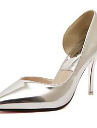 Damen-High Heels-Kleid-Lackleder-StöckelabsatzGold Silber