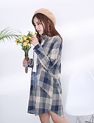 Spring Korean Institute of wind loose plaid shirt BF wind wild long-sleeved jacket and long sections female shirt