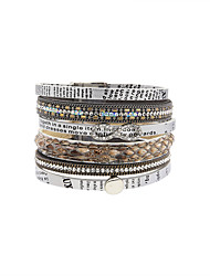 Fashion Women Multi Rows Rhinestone Set Infinity Print Leather Bracelet