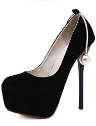 Feminino-Saltos-Sapatos clube-Salto Agulha-Preto-Flanelado-Social