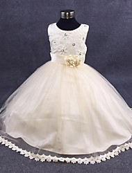 Ball Gown Ankle-length Flower Girl Dress - Organza Jewel with Flower(s) Lace Pearl Detailing