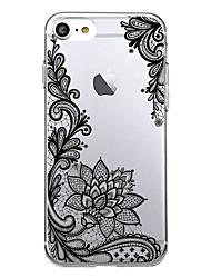 Pour iPhone X iPhone 8 Etuis coque Ultrafine Transparente Motif Coque Arrière Coque Impression de dentelle Flexible PUT pour Apple iPhone