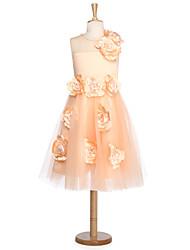 Vestido de baile vestido de flor com joelho - Tulle jóia sem mangas com flor