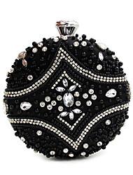 L.west Women Elegant High-grade Diamonds Circular Beaded Evening Bag
