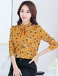 Going out Casual/Daily Work Cute Street chic Blouse,Floral Stand Long Sleeve Blue Yellow Polyester