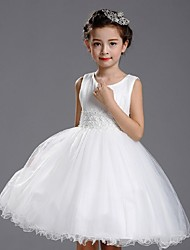Ball Gown Knee-length Flower Girl Dress - Organza Jewel with Beading