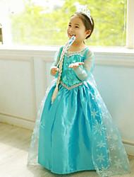 Vestido Chica deJacquard-Mezcla de Algodón / Malla-Todas las Temporadas-Azul