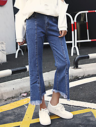 New spring high waist boot-cut jeans female loose nine points was thin foot mouth split wide leg pants tide burr