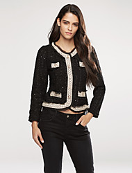 Women's Winter Blazer,Solid Stand Long Sleeve White / Black