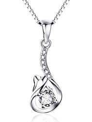Pendants Sterling Silver Simulated Diamond Basic Design Heart Silver Jewelry Daily Casual 1pc