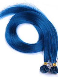 U Tip Hair Extensions Brazilian Straight Hair Blue Human Hair Extensions 100g Pre-bonded Straight Virgin Hair Nail Tips
